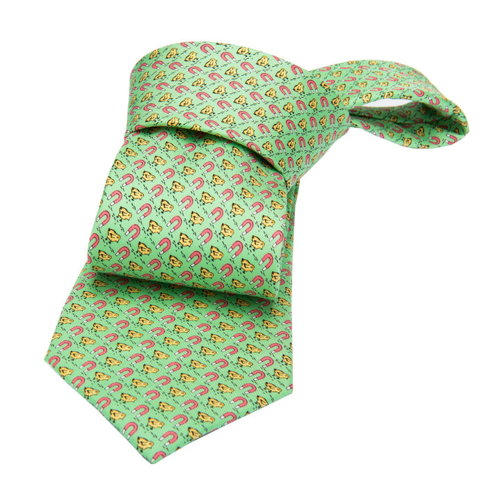 Green and Yellow Chicken and Magnet Printed Silk Tie
