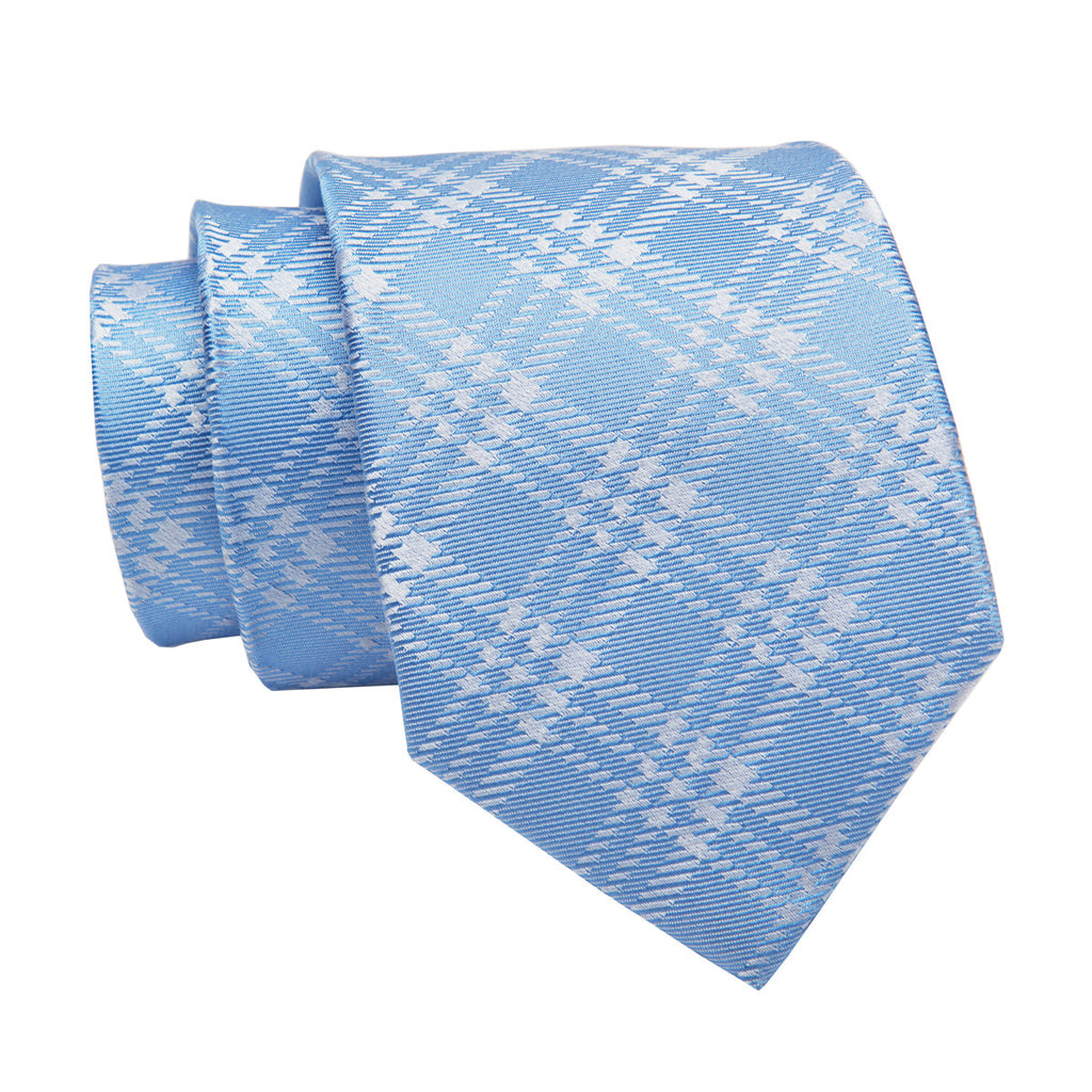 Baby Blue Plaid Silk Tie