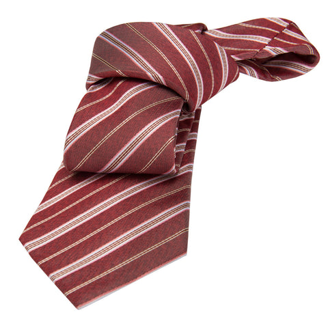 Wine Striped Silk Tie