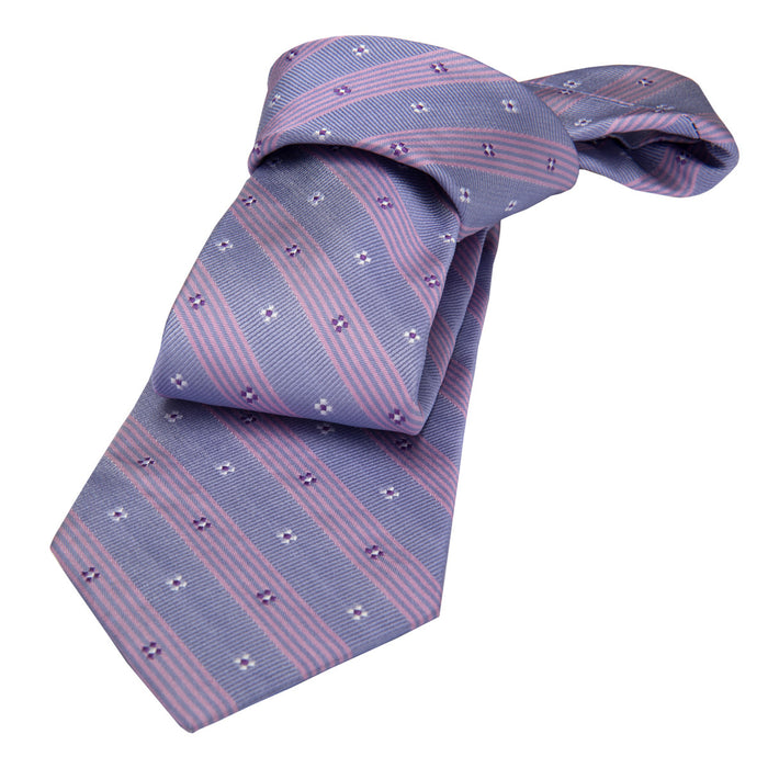Lilac Floral Striped Silk Tie