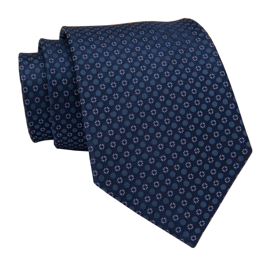 Navy and Lilac Dotted Silk Tie