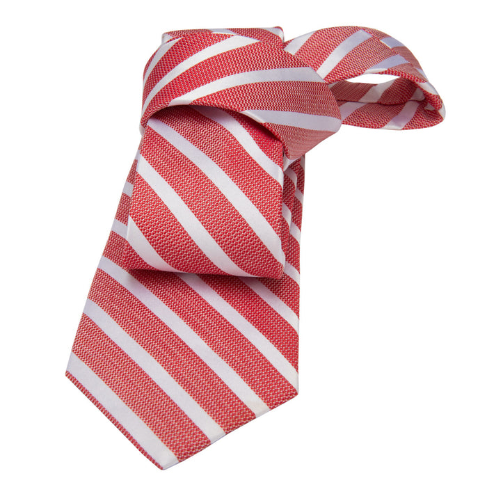 Coral Striped Silk Tie