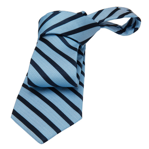 Light Blue & Navy Striped Silk Tie
