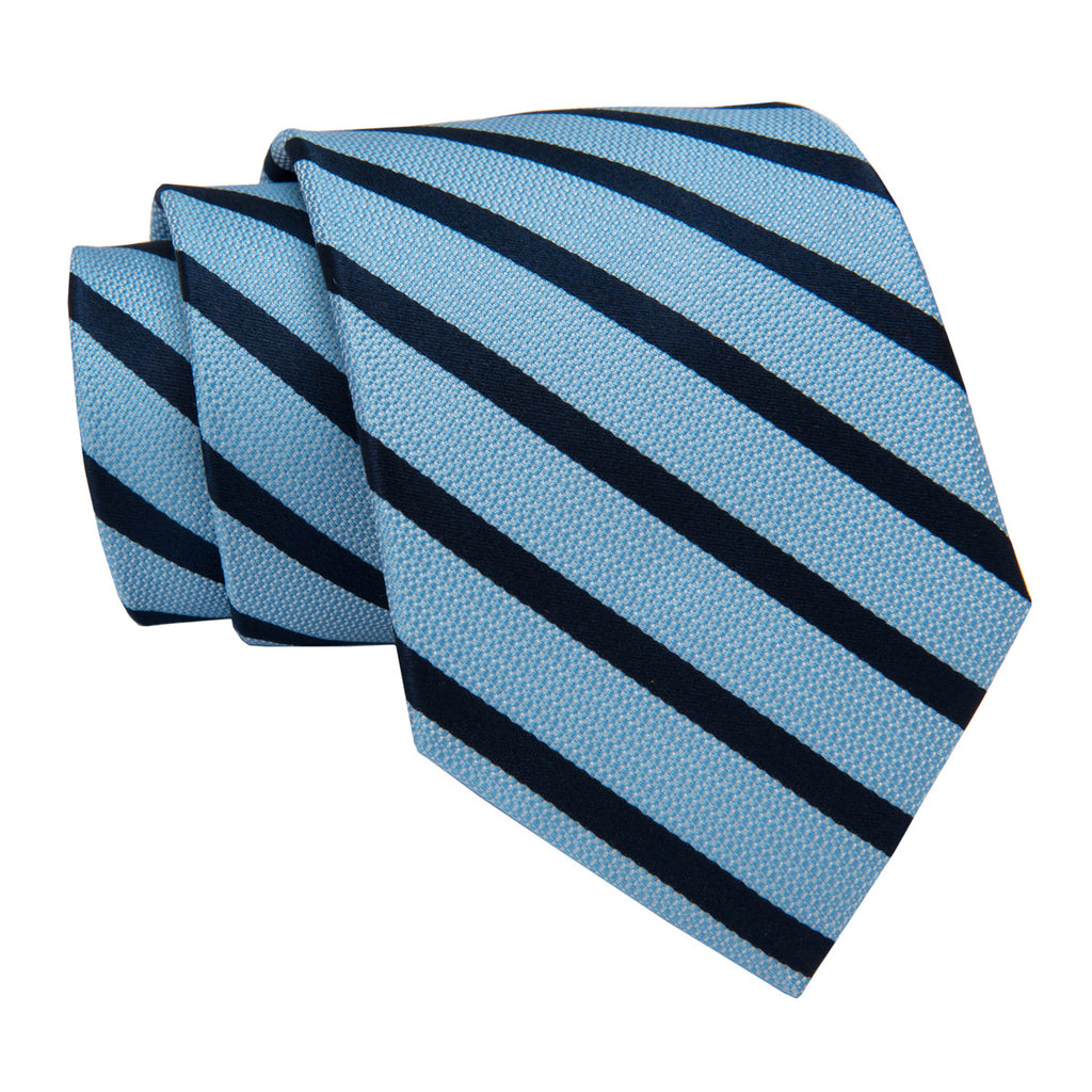 Light Blue and Navy Striped Silk Tie