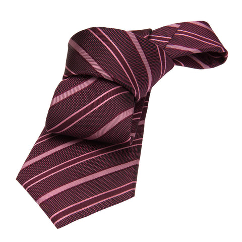 Burgundy and Pink Striped Silk Tie