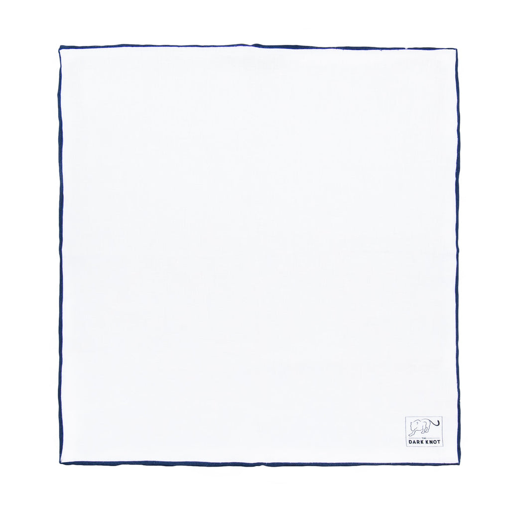 White Linen Pocket Square with Navy Hand Rolled Edges