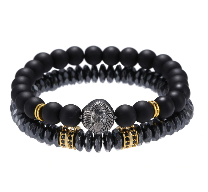 Black Stackable Beaded Bracelet with silver lion's head