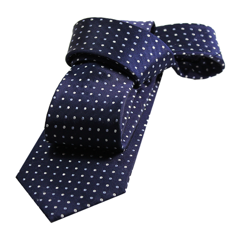 Navyand Light Blue Polka Dot Silk Tie