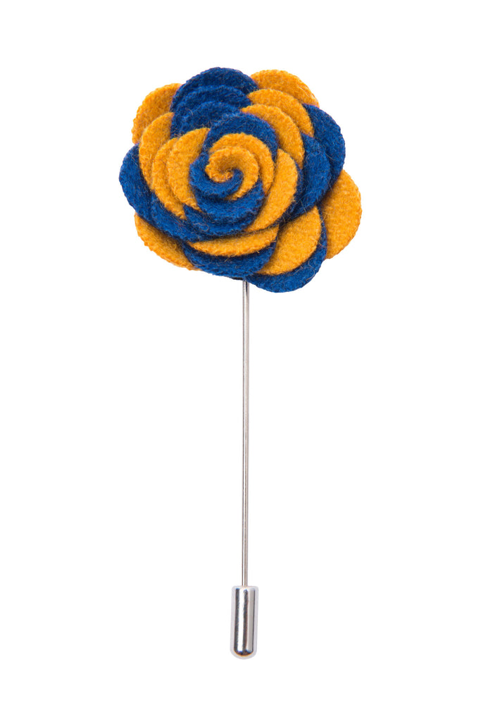Blue and yellow lapel flower