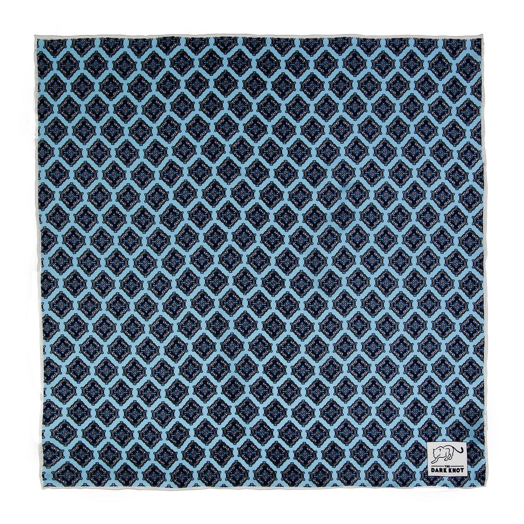 Light Blue, Navy & Grey Abstract Silk Pocket Square