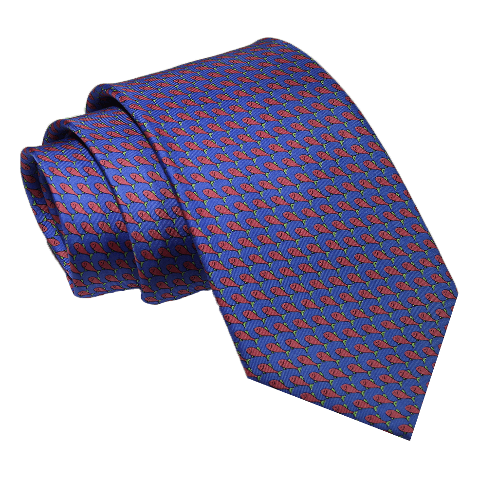 Blue and Pink Fish Printed Silk Tie