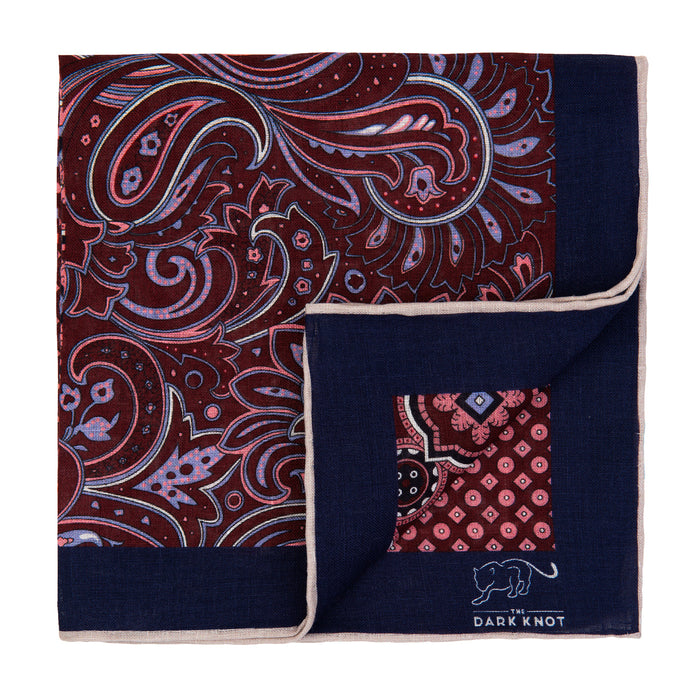 Burgundy & Pink Multi Patterned Linen Pocket Square