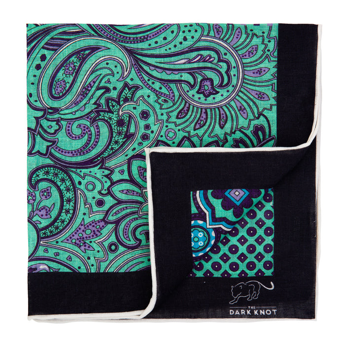Light Green & Pink Multi Patterned Linen Pocket Square