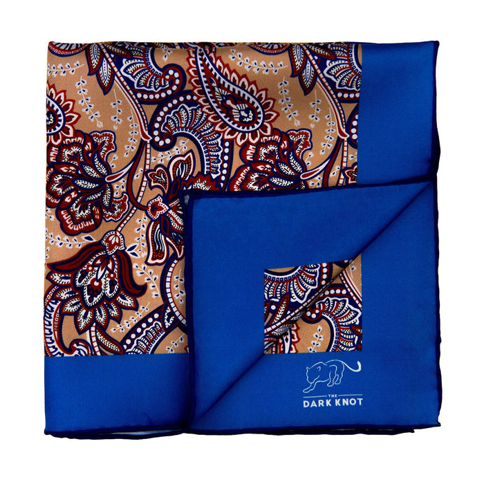 Gold, Blue & Orange Paisley Silk Pocket Square