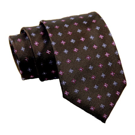 Brown Foulard Wool Silk Tie