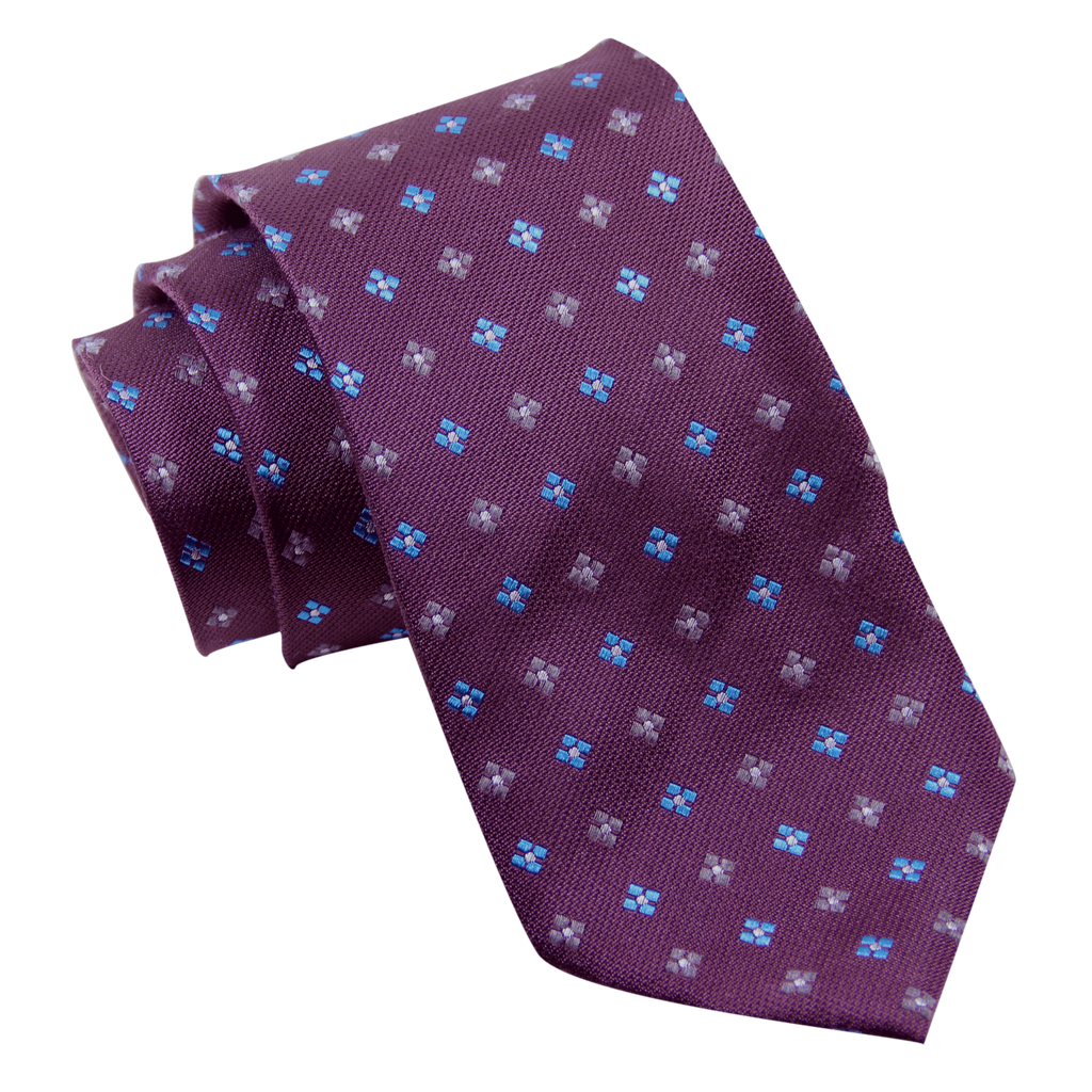 Purple Foulard Wool Silk Tie