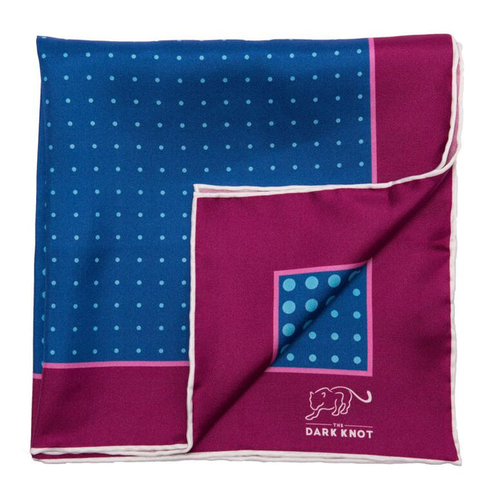 Blue and Burgundy Polka Dot Silk Pocket Square