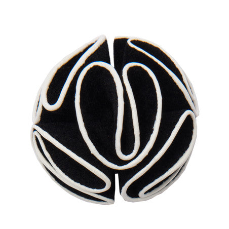 Black and white felt lapel flower
