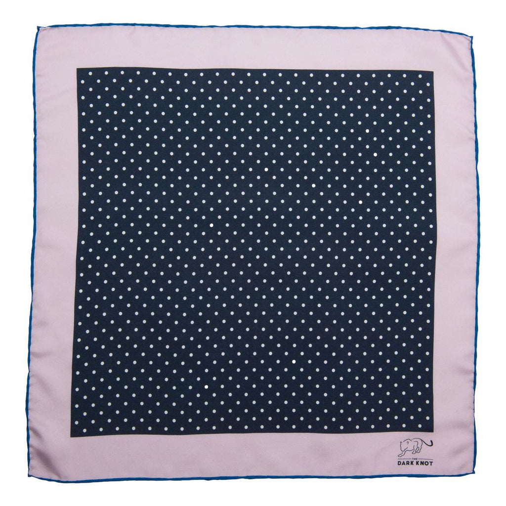 Navy and White Silk Polka Dot Pocket Square