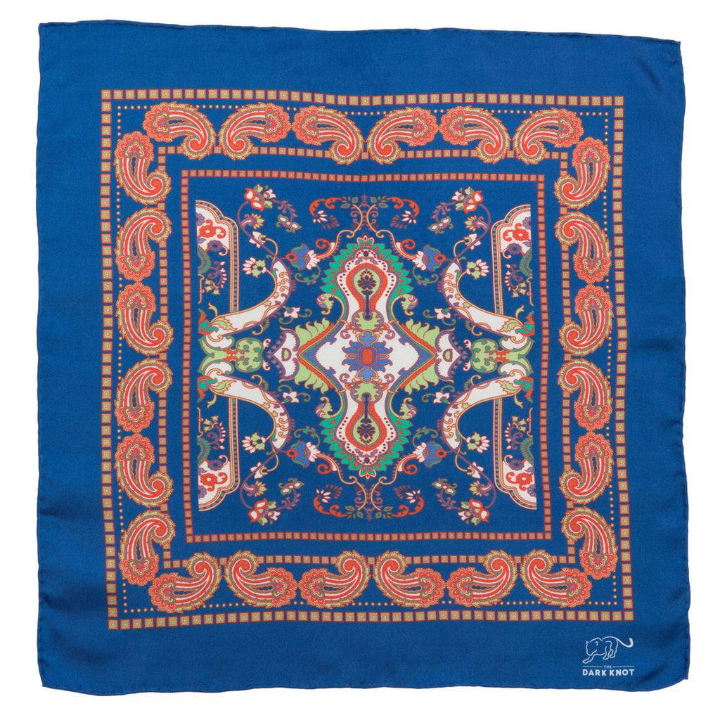 Blue and Orange Paisley Silk Pocket Square