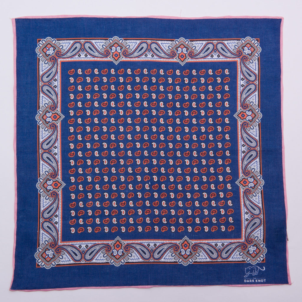 Blue & Red Foulard Linen Pocket Square