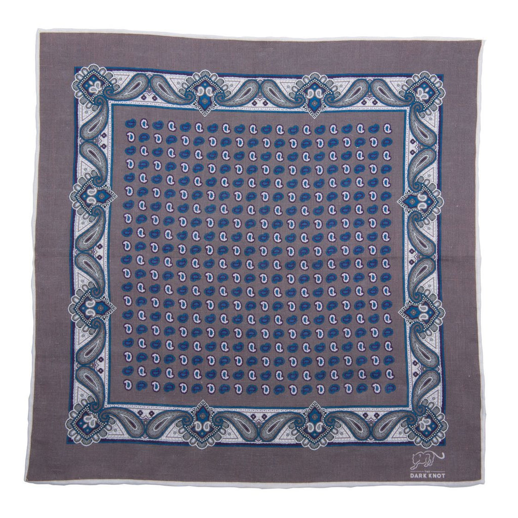Grey and Blue Foulard Linen Pocket Square