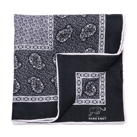 Grey & White Paisley Linen Pocket Square