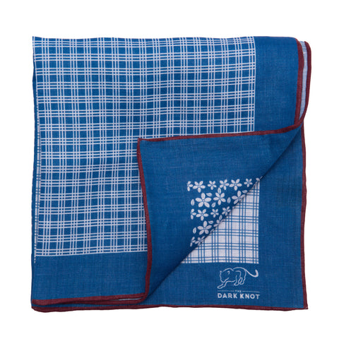 Blue Foulard Linen Pocket Square