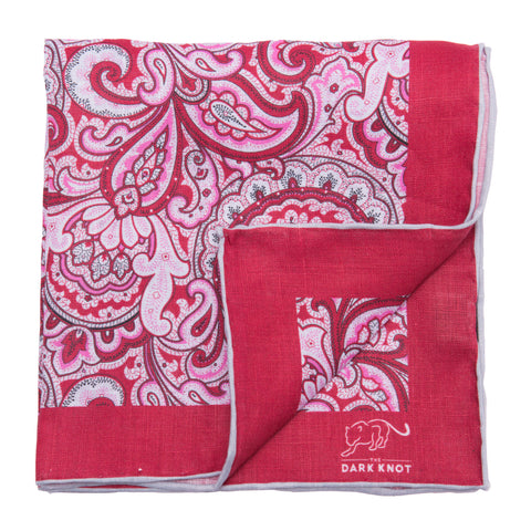 Red Paisley Linen Pocket Square