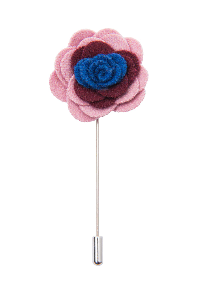 Pink Burgundy and Blue Felt Lapel Flower