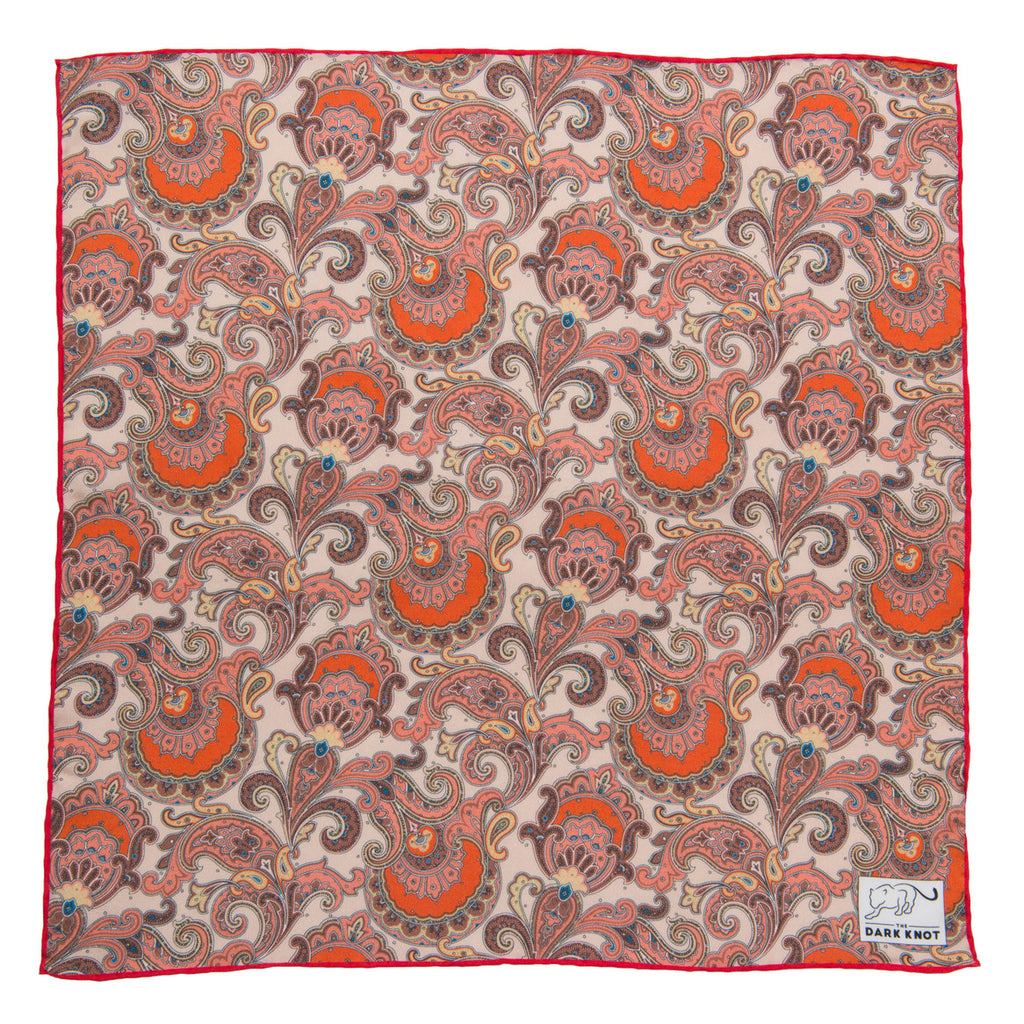 Cream & Brown Paisley Silk Pocket Square