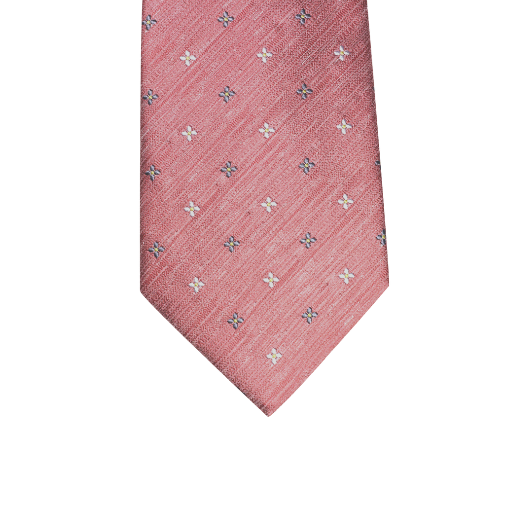 Coral abstract silk tie