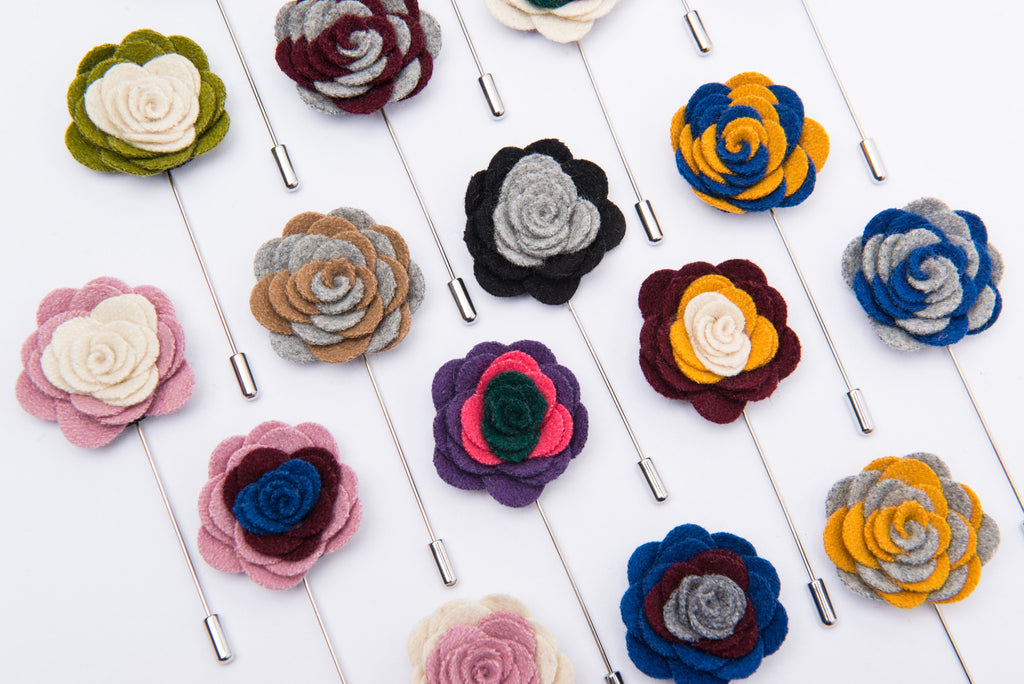 Multicolored lapel flowers