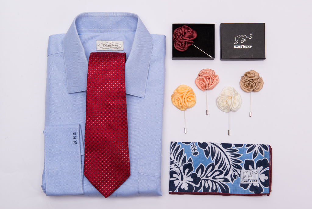 Silk Tie, Pocket Square and Lapel Flowers
