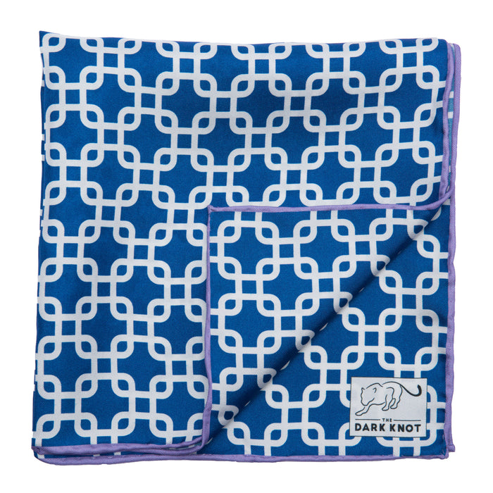 Blue Foulard Silk Pocket Square