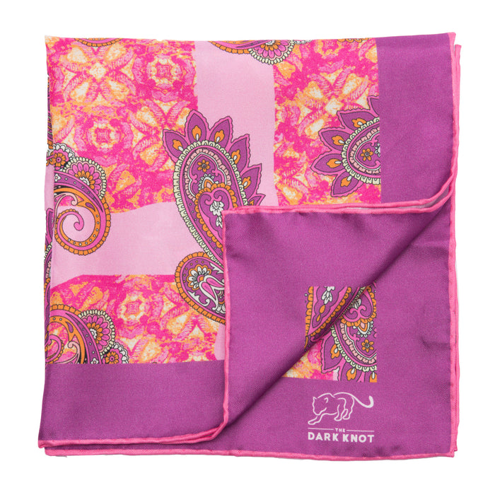 Pink & Lilac Paisley Silk Pocket Square