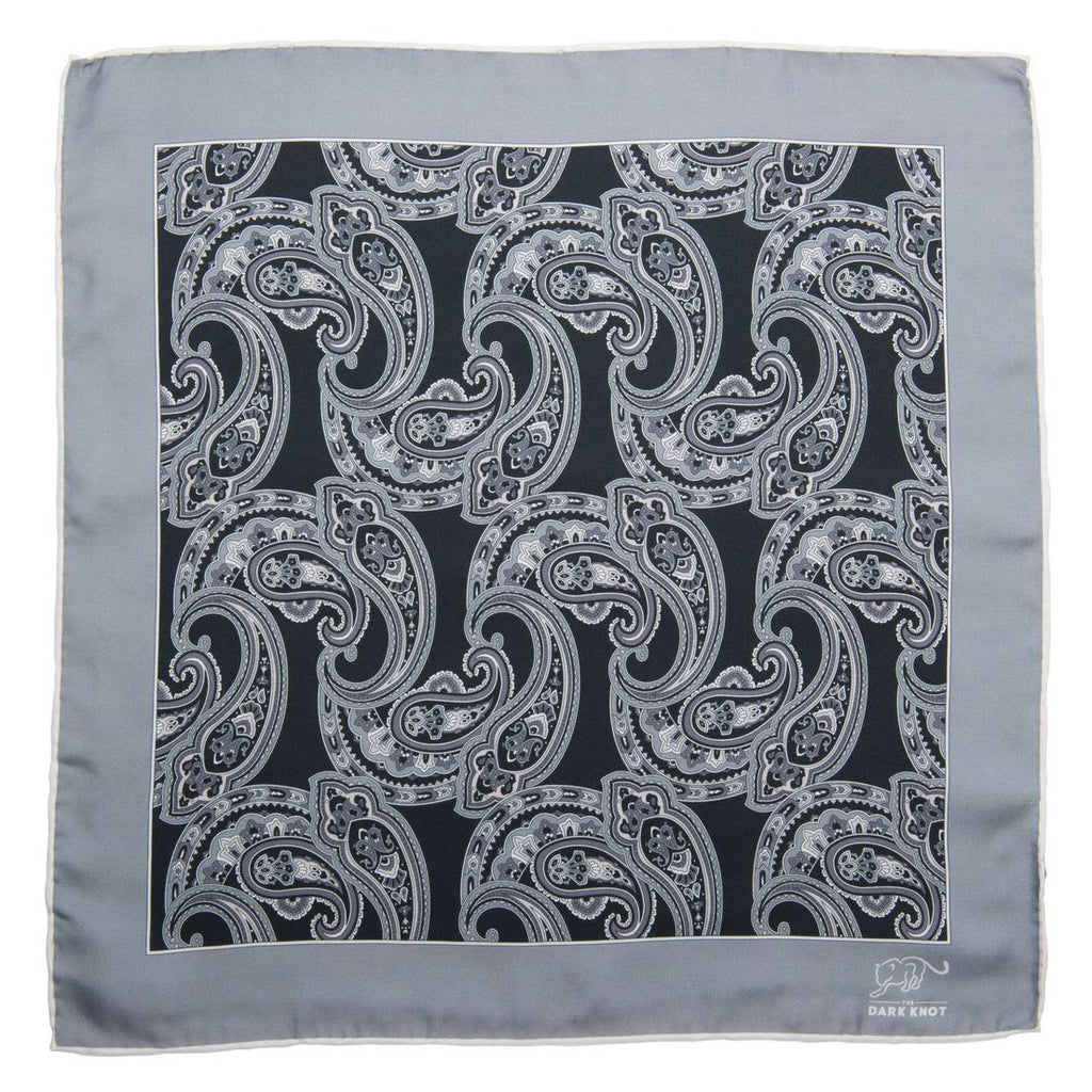 Black, Grey & White Silk Paisley Pocket Square