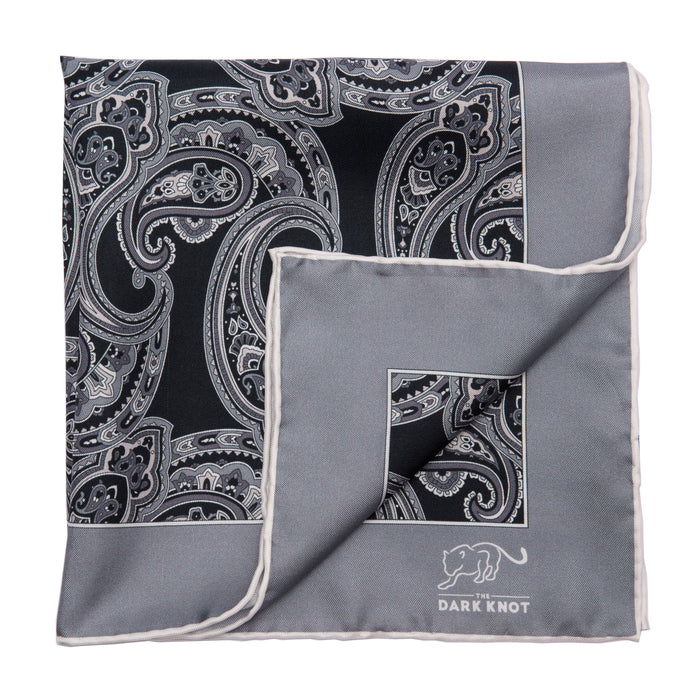 Black, Grey & White Paisley Silk Pocket Square