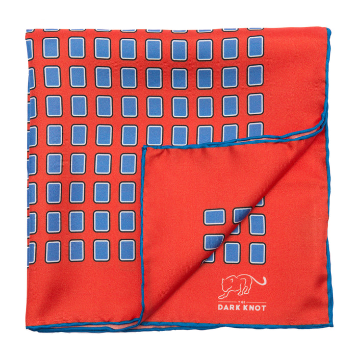 Red & Blue Squares Silk Pocket Square
