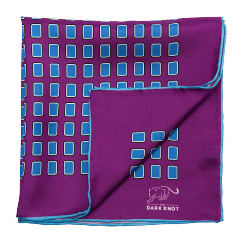 Purple and Blue Foulard Silk Pocket Square