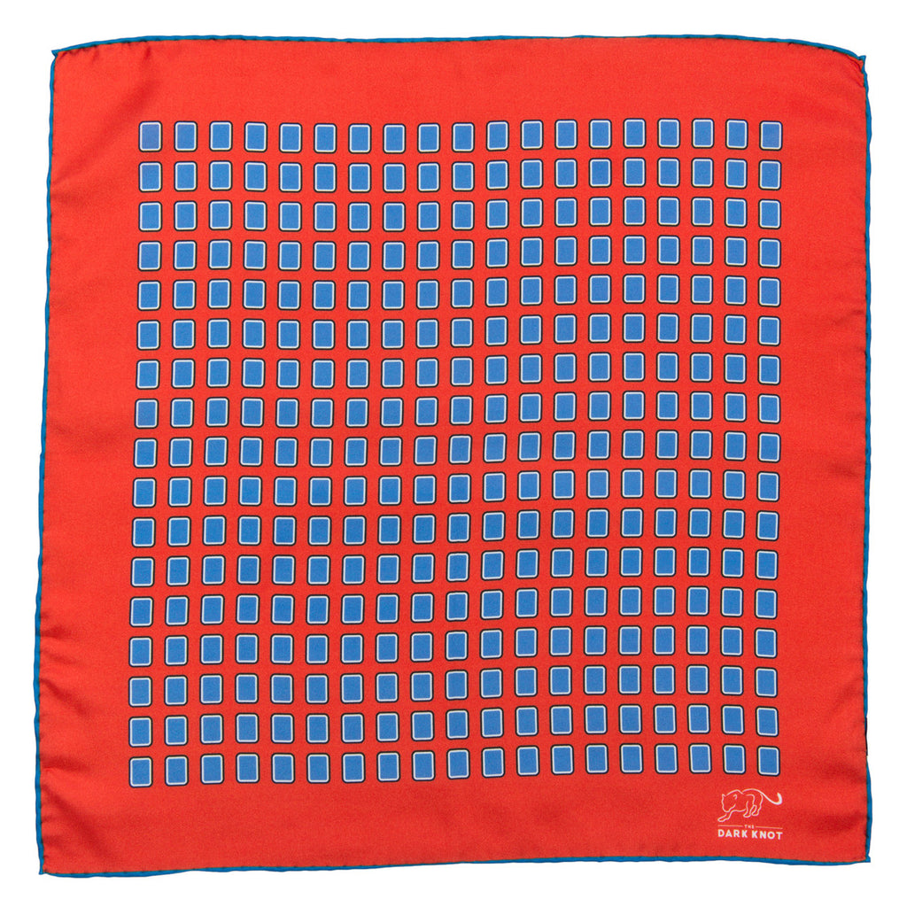 Red & Blue Foulard Silk Pocket Square