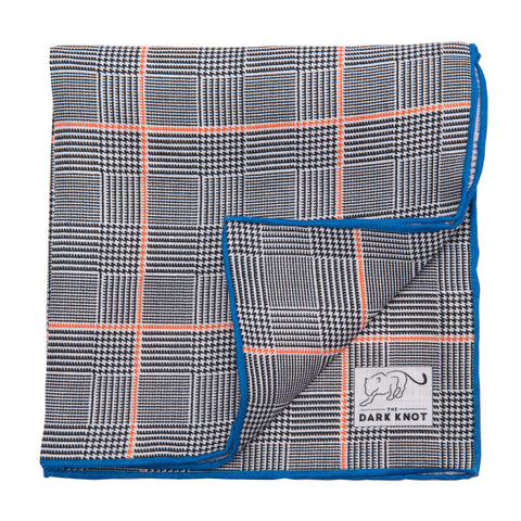 Grey & Orange checkered linen pocket square