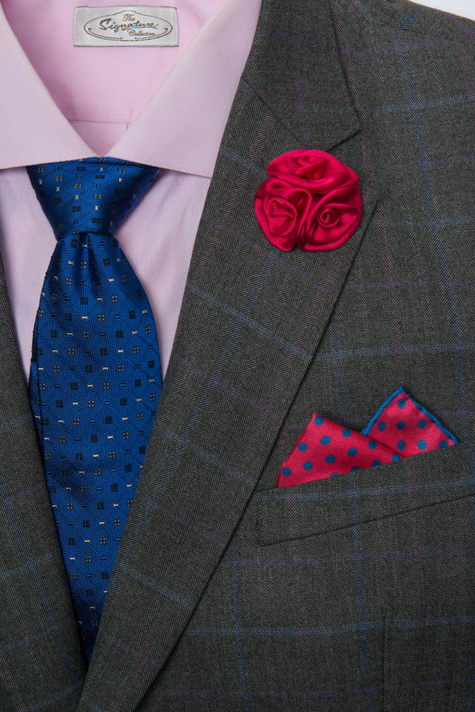 Silk Tie, Pocket Square & Lapel Flower