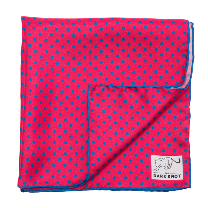 Coral and Blue Polka Dot Silk Pocket Square