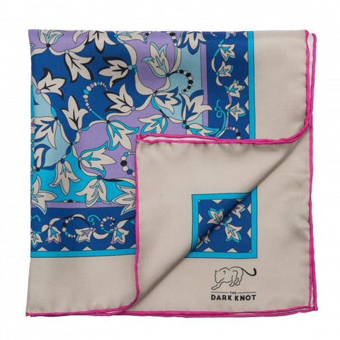Blue and Lilac Paisley Silk Pocket Square