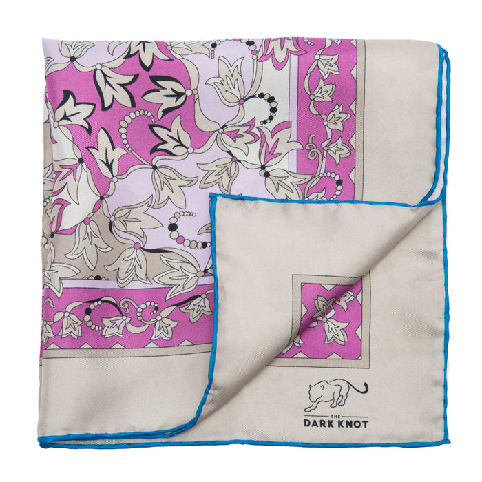 Lilac & Pink Paisley Silk Pocket Square