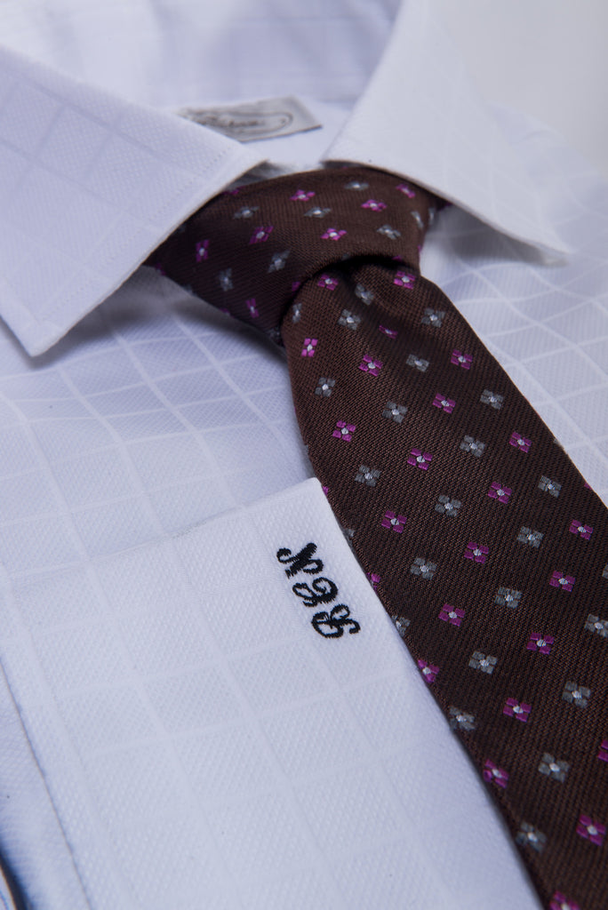 Brown Abstract Wool Silk Tie