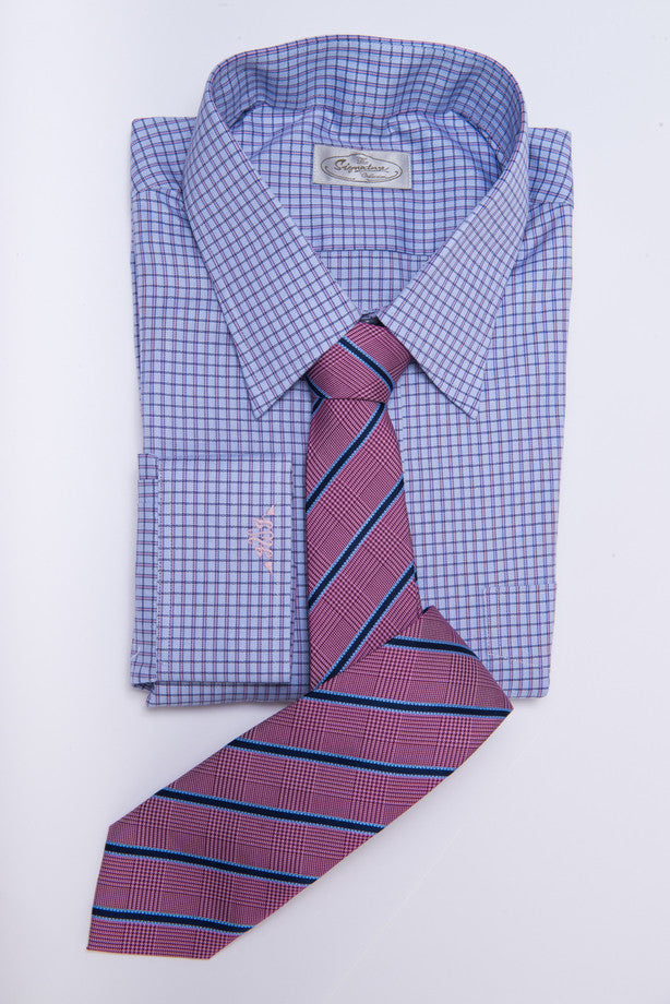 Wilton Stripes Silk Tie, Pinkish Red / Navy
