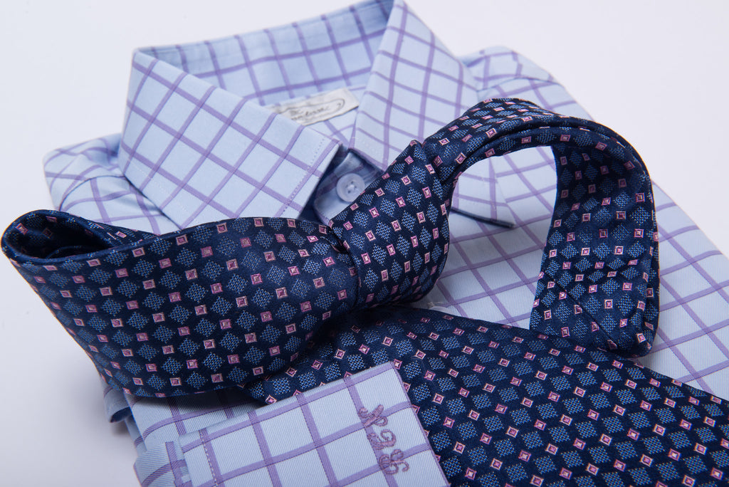 Blue with Pink Abstract Silk Tie