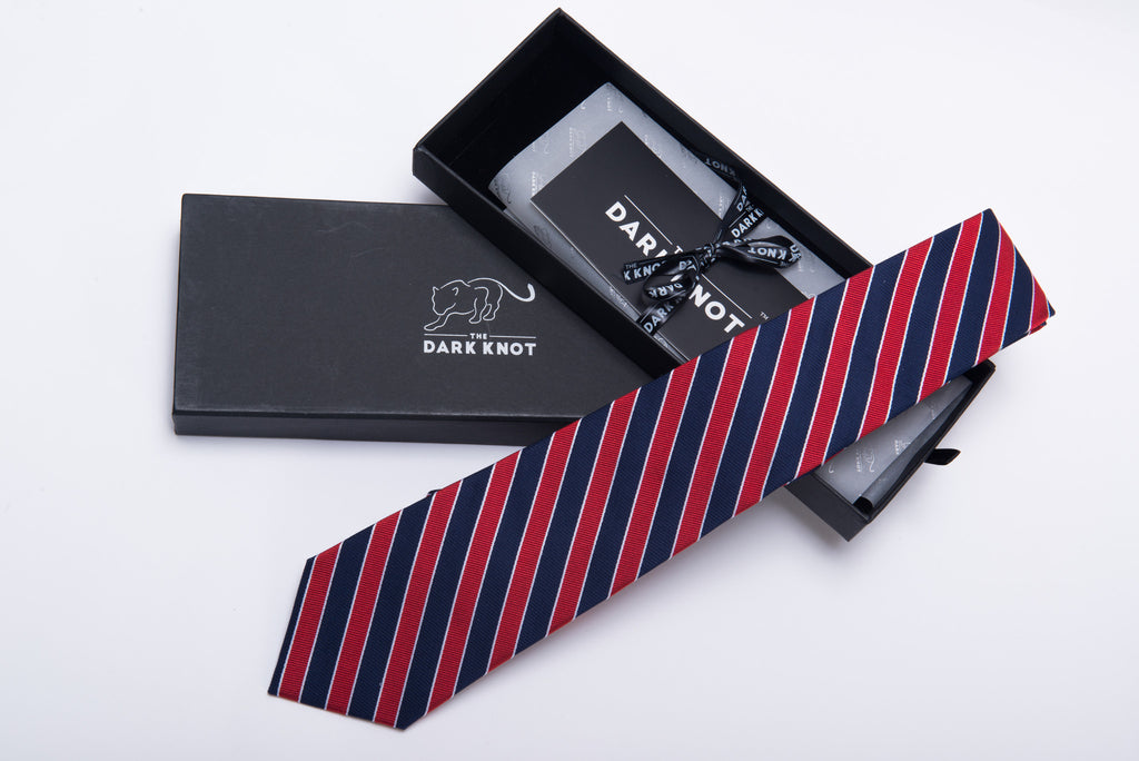 Red with Navy Regimental Striped Silk Tie
